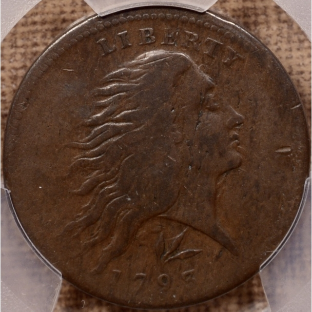 1793 C.11b R4 Flowing Hair Lettered Edge Wreath Cent PCGS F15