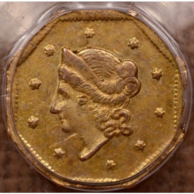 1854 BG-508 California Fractional Gold Dollar PCGS MS62 OGH