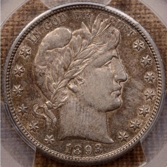 1893-S Barber Half Dollar PCGS AU53 CAC, I grade 55 and A quality