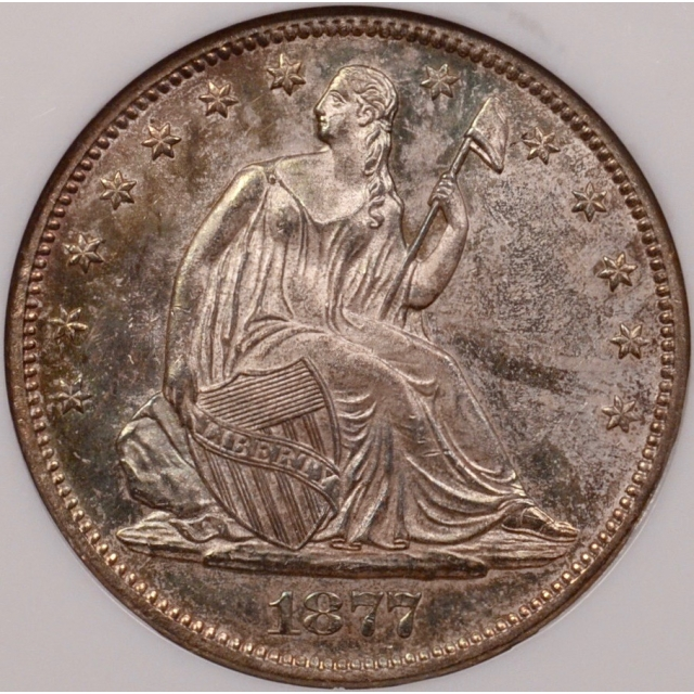 1877-S WB-2 Micro S Liberty Seated Half Dollar, NGC MS64, No Barcode Fatty holder (CAC)