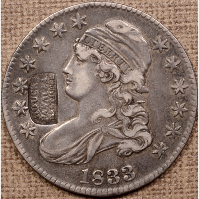 1833 O.113 HOUCK'S PANACEA counterstamp Capped Bust Half Dollar, raw XF40, ex. Stu Witham BHNC 001