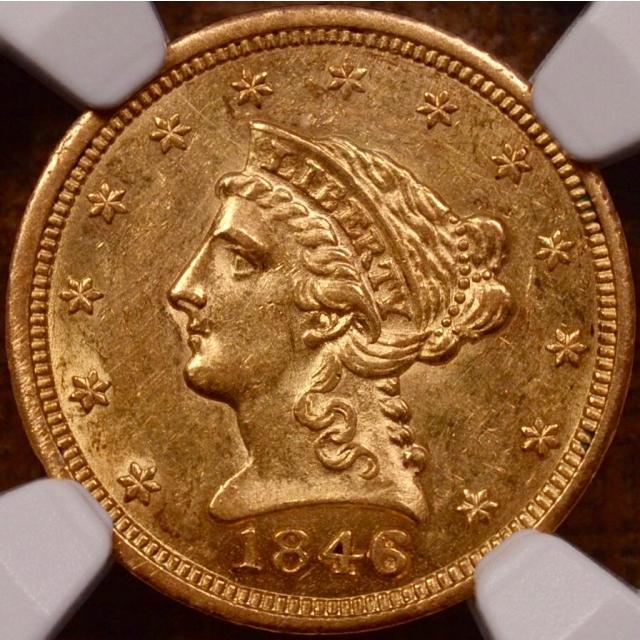 1846 Quarter Eagle $2.50 NGC AU58 (CAC)