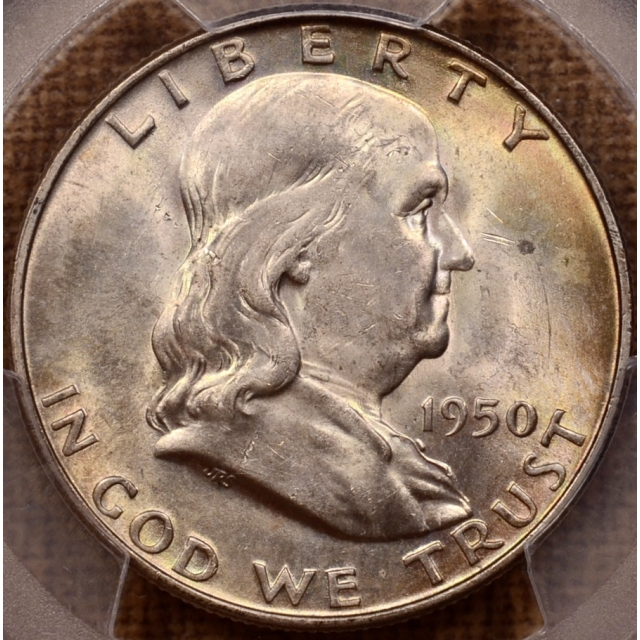 1950-D Franklin Half Dollar PCGS MS64 FBL, great color!