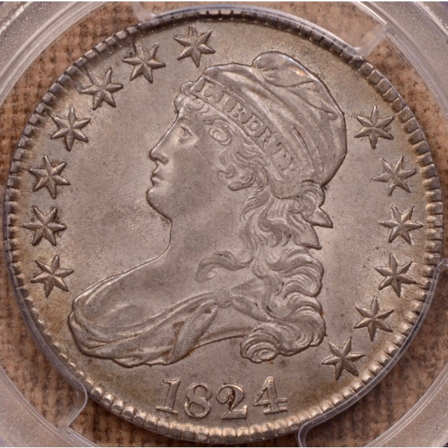 1824 O.115 Capped Bust Half Dollar PCGS AU58 CAC, EJ Collection