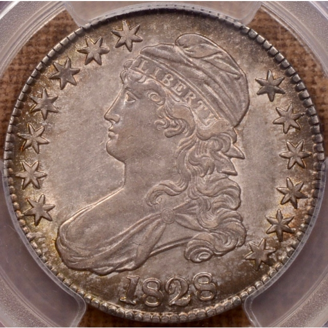 1828 O.101 Curl 2, No Knob Capped Bust Half Dollar PCGS AU53 CAC