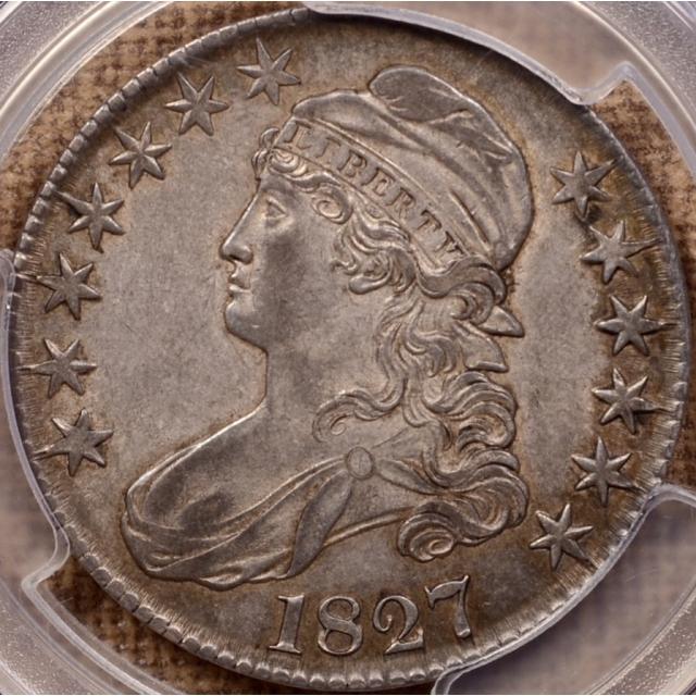 1827 O.121 Square Base 2 Capped Bust Half Dollar PCGS AU53 CAC