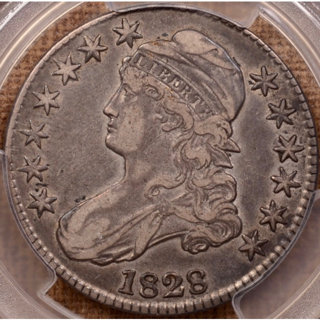1828 O.119 Square 2, Small 8, Small Letters Capped Bust Half Dollar PCGS VF35