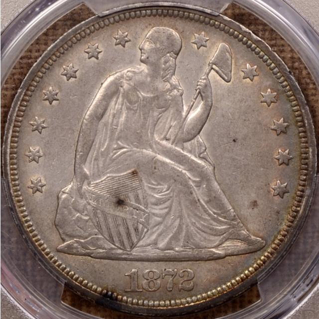1872 Liberty Seated Dollar PCGS AU53 CAC
