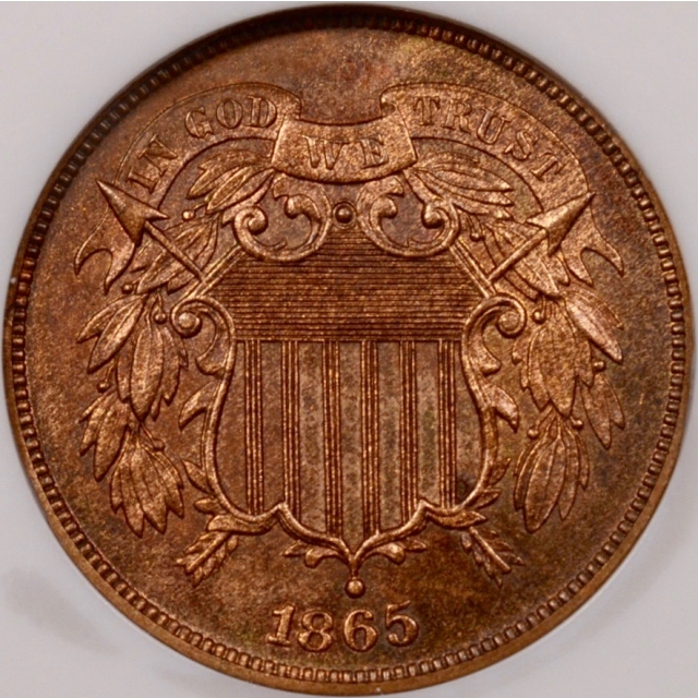 1865 Two Cent Piece NGC PR65 RB (CAC)