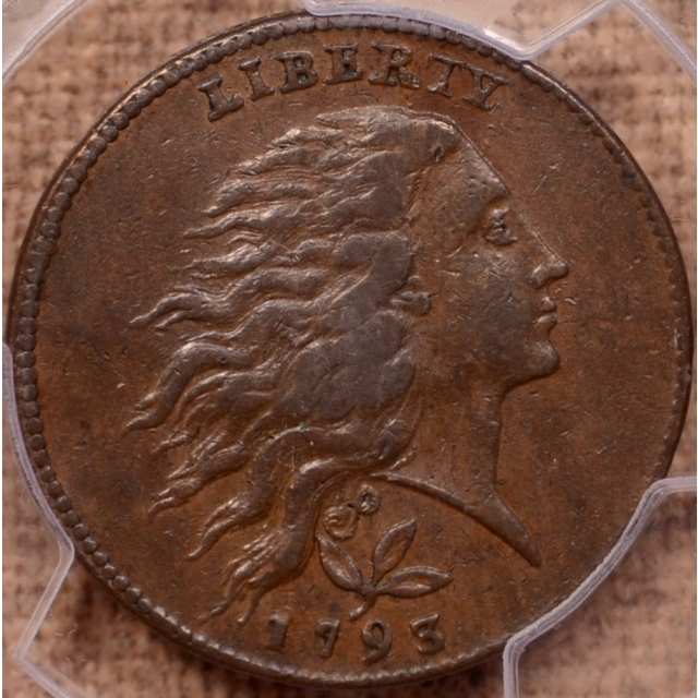 1793 Vine and Bars Edge S-6 Flowing Hair Wreath Cent PCGS AU50BN (CAC), ex. Loring Collection