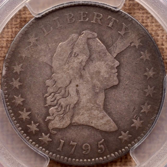 1795 O.127a R6- Small Head Flowing Hair Half Dollar PCGS F15, ex. Summers, DeOlden