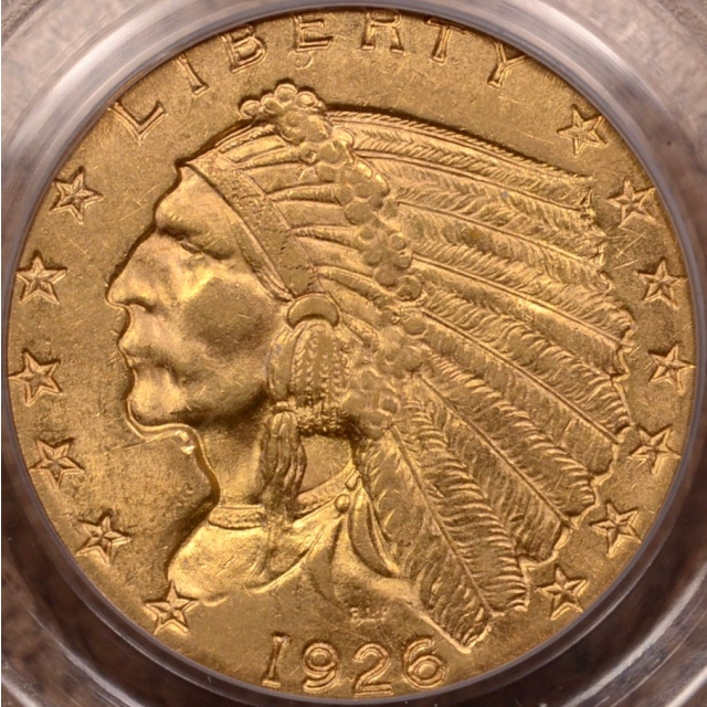 1926 $2.50 Indian Head PCGS MS60 (CAC) OGH