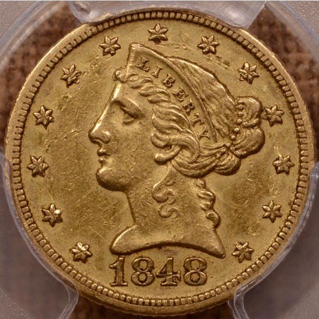1848-D Liberty Head Half Eagle PCGS AU50