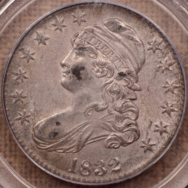 1832 O.118 Small Letters Capped Bust Half Dollar PCGS AU55