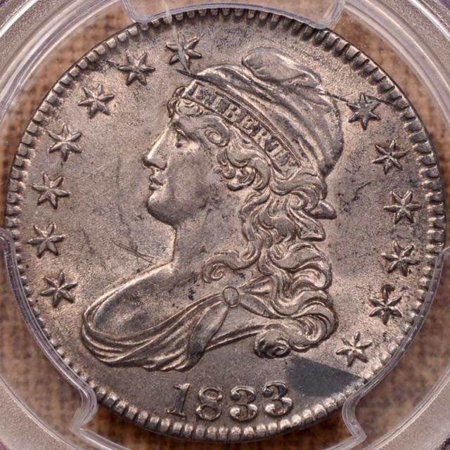 1833 O.108 Capped Bust Half Dollar PCGS AU55