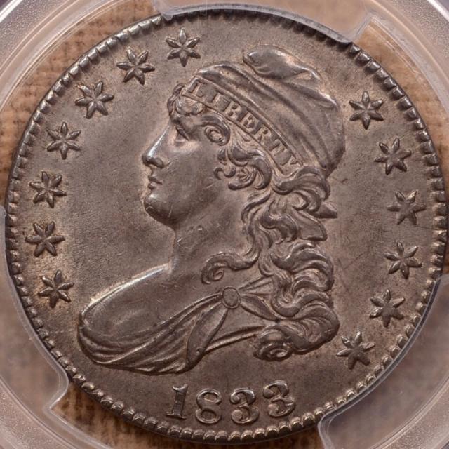 1833 O.109 Capped Bust Half Dollar PCGS AU58 CAC