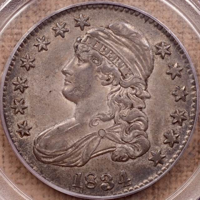 1834 O.102 Large Date, Large Letters Capped Bust Half Dollar PCGS AU55 CAC