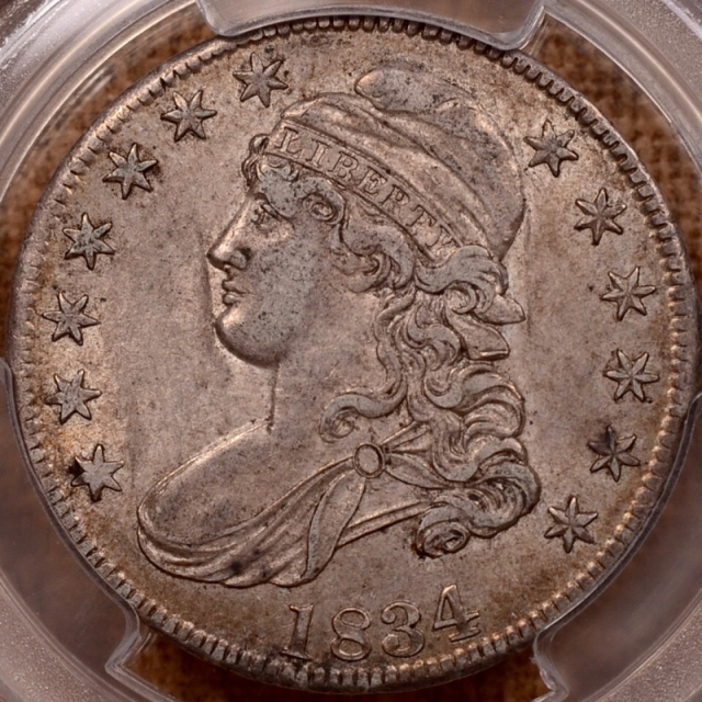 1834 O.105 Large Date, Small Letters Capped Bust Half Dollar PCGS AU53 (CAC)