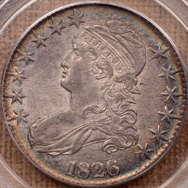 1826 O.107 Capped Bust Half Dollar PCGS AU58