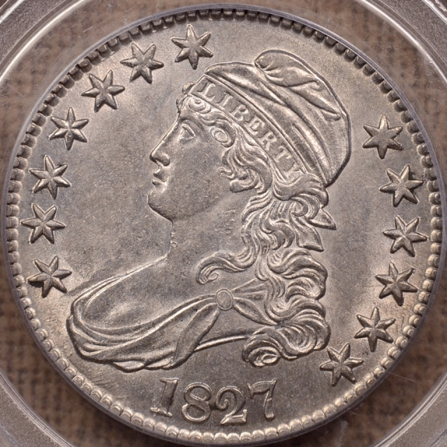 1827 O.104 Square Base 2 Capped Bust Half Dollar PCGS AU58