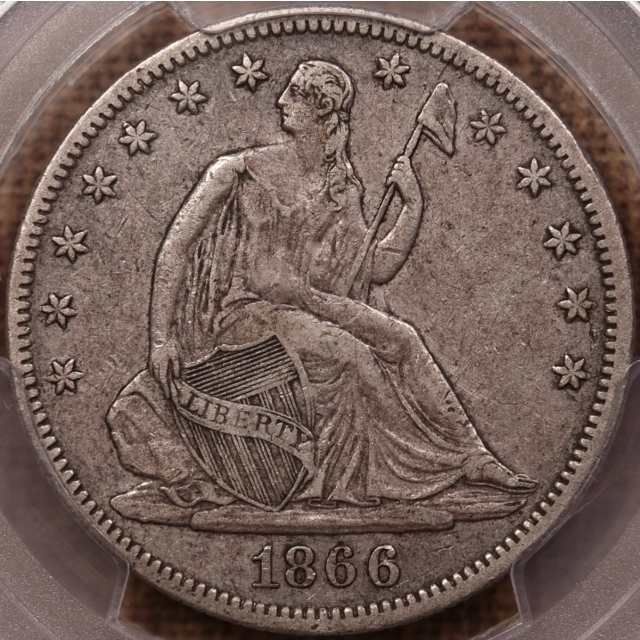 1866 Motto Liberty Seated Half Dollar PCGS VF35 CAC