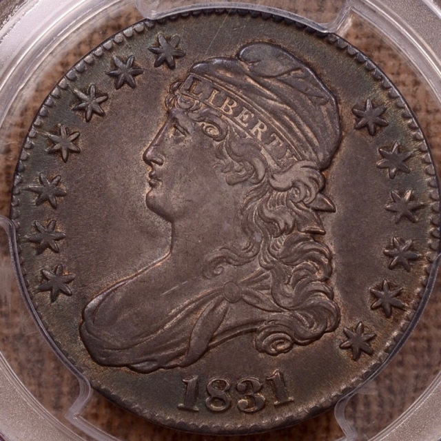 1831 O.112 Capped Bust Half Dollar PCGS AU55 (CAC)