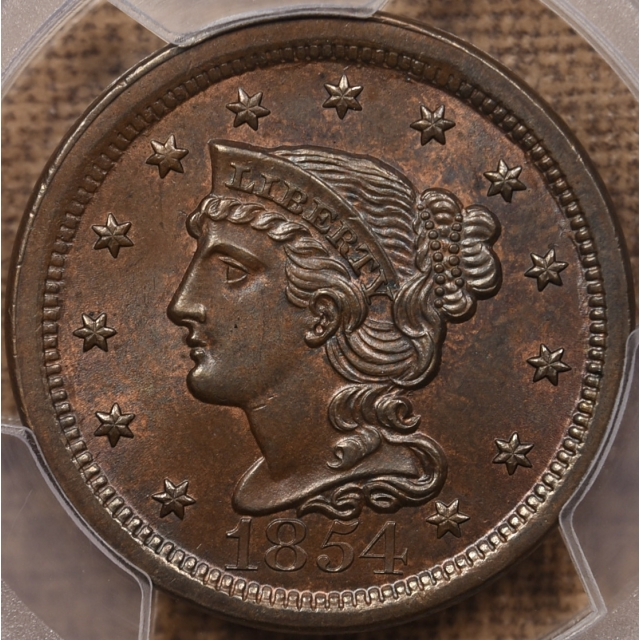 1854 N.8 Braided Hair Cent PCGS MS64 BN CAC, A WOW! coin