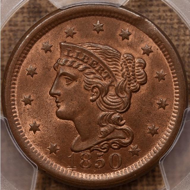 1850 N.7 Braided Hair Cent PCGS MS64 RB CAC, EJ part 3