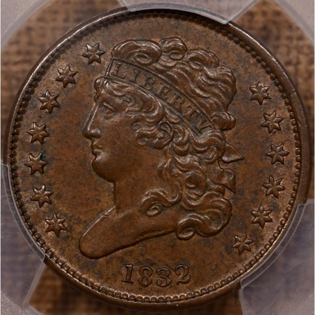1832 Classic Head Half Cent PCGS MS62 BN CAC