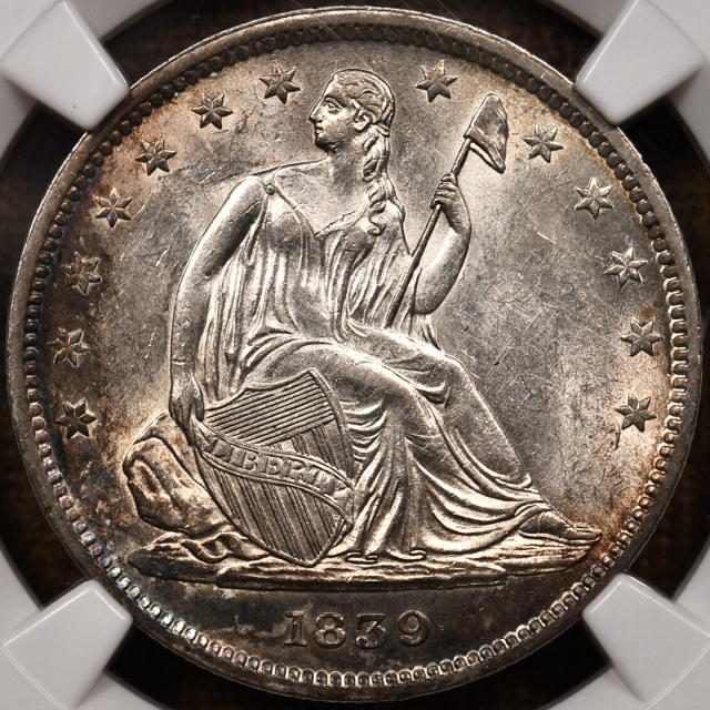 1839 WB-5 with Drapery Seated Liberty Half Dollar NGC MS61