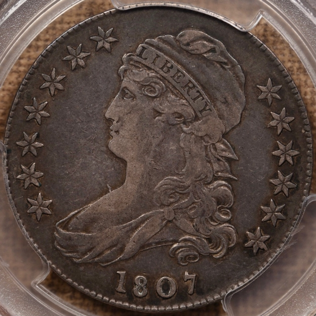 1807 O.111a Large Stars 50/20 Bearded Goddess Capped Bust Half Dollar PCGS XF40 CAC