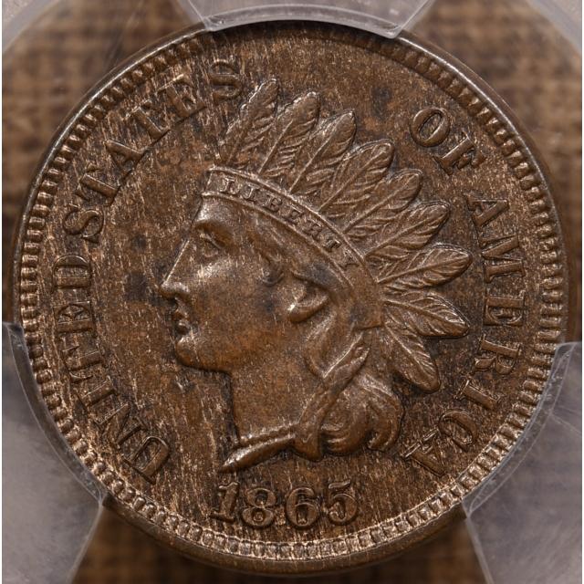 1865 S.3a RPD FS-303 Plain 5 Indian Cent PCGS MS62 BN, Eagle Eye cert