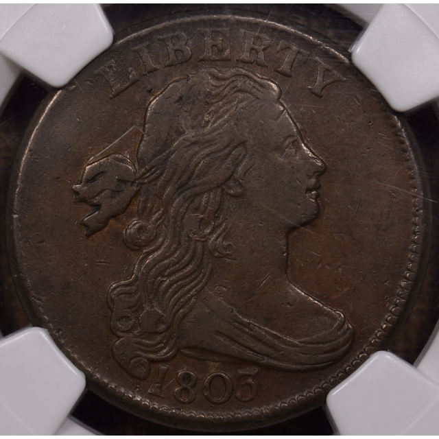 1803 S.260 Small Date Large Fraction Draped Bust Cent NGC VF35 BN CAC