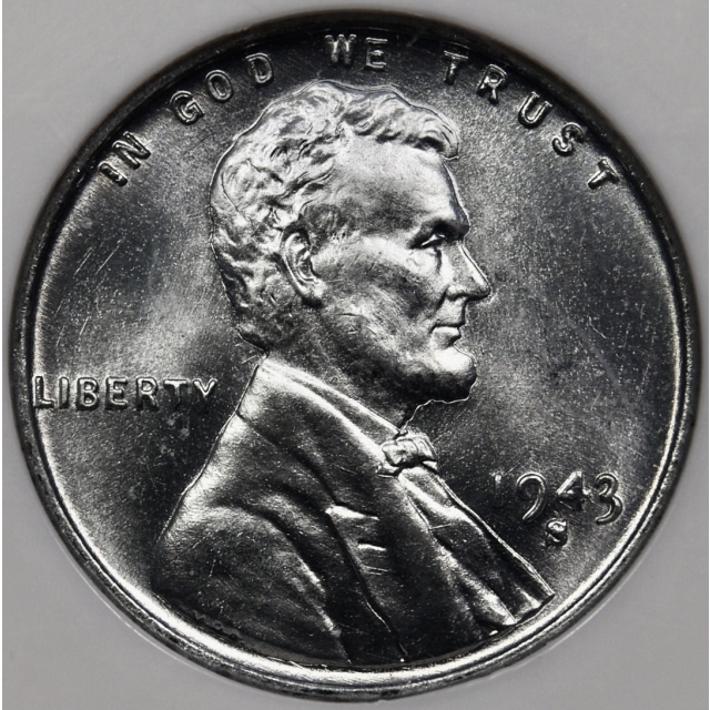 1943-S Steel Lincoln Cent NGC MS66 CAC, No-Line Fatty