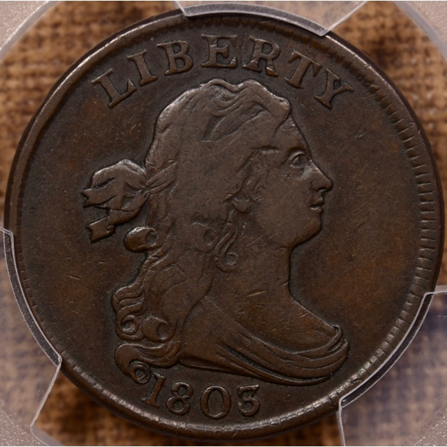 1803 Draped Bust Half Cent PCGS VF25