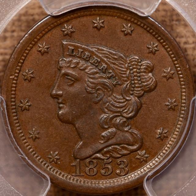 1853 Braided Hair Half Cent PCGS MS62 BN