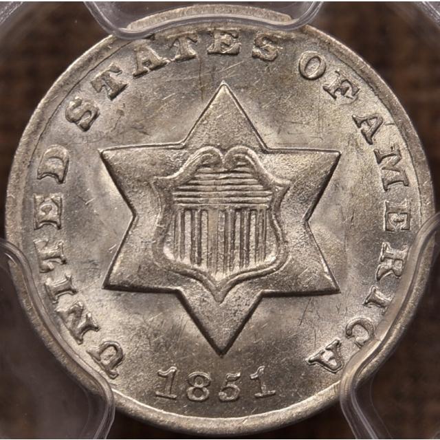 1851-O Three Cent Silver PCGS MS63 CAC
