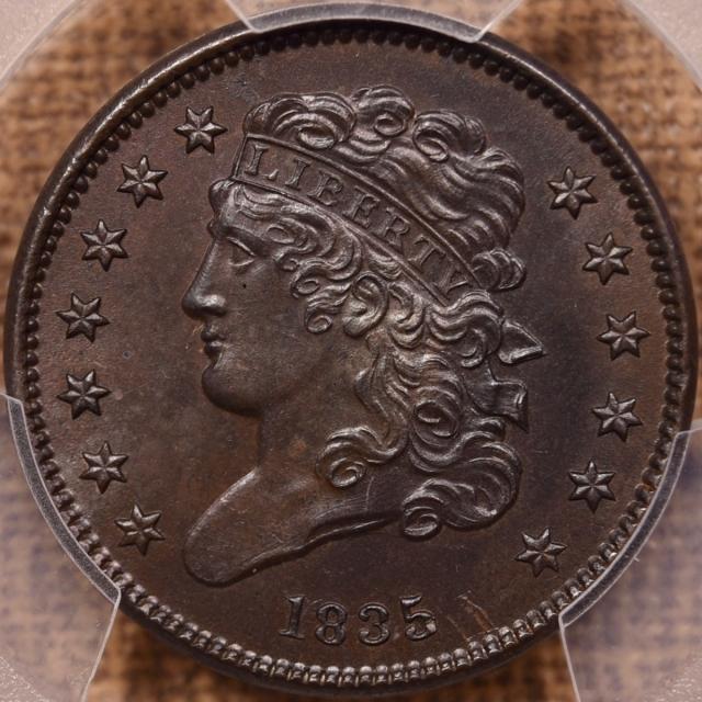 1835 Classic Head Half Cent PCGS MS64 BN
