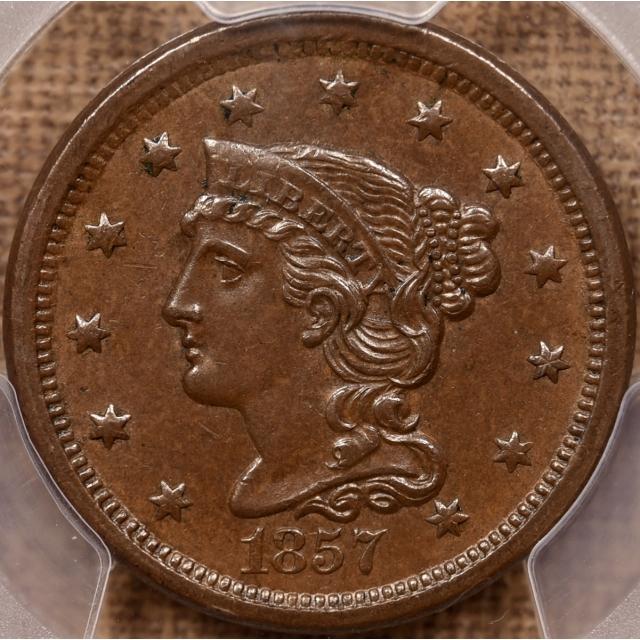 1857 N.2 Small Date Braided Hair Cent PCGS AU58+ CAC