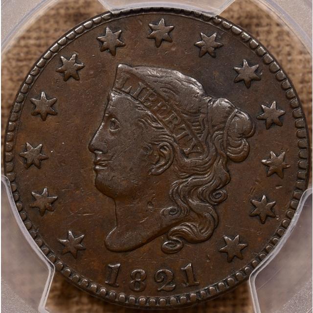 1821 N.2 Coronet Head Cent PCGS VF30 CAC