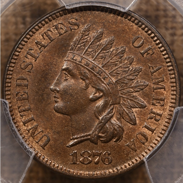 1876 Indian Cent PCGS MS65 RB CAC