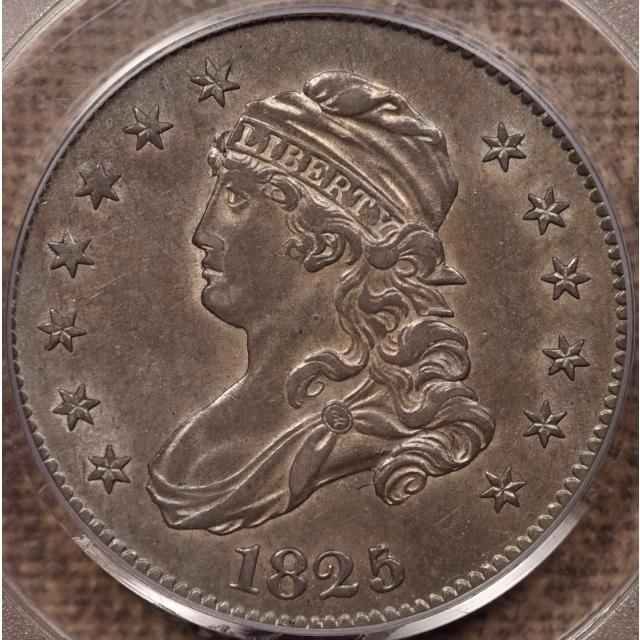 1825/4/3 B.2 Capped Bust Quarter PCGS AU58 CAC, EJ p3