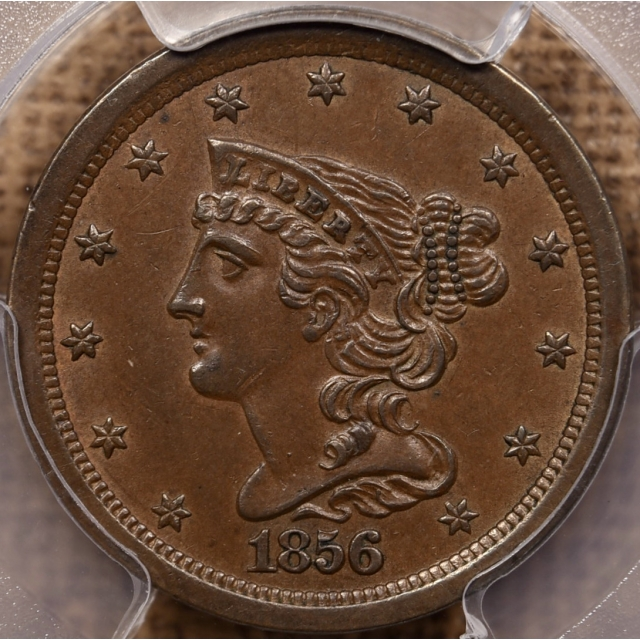 1856 Braided Hair Half Cent PCGS AU58 CAC