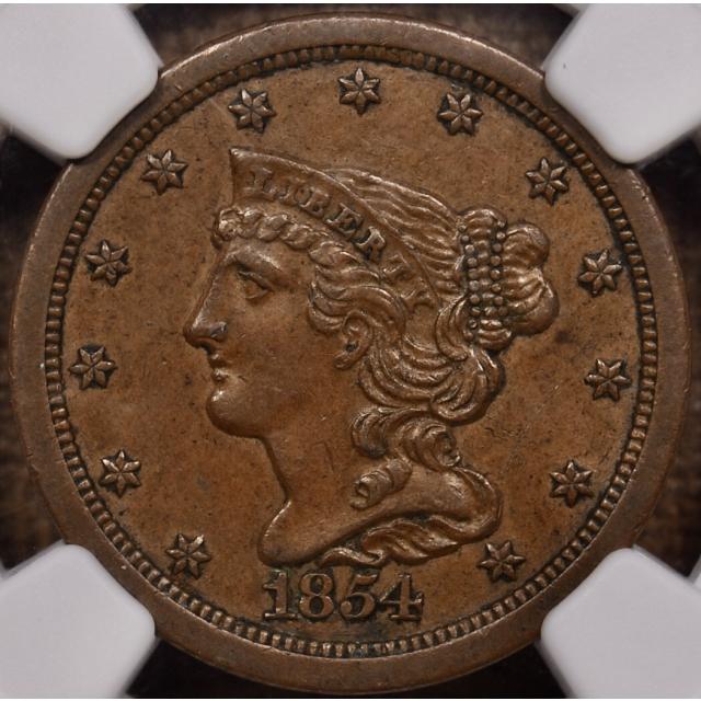 1854 C.1 Braided Hair Half Cent NGC MS61 BN