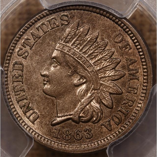 1863 Indian Cent PCGS AU58