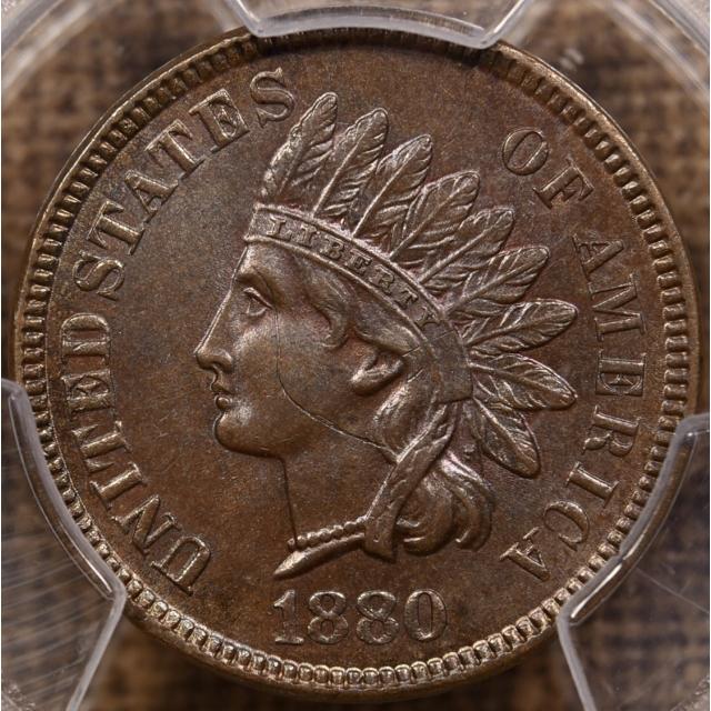 1880 Indian Cent PCGS MS62 BN, Interesting Strike Through