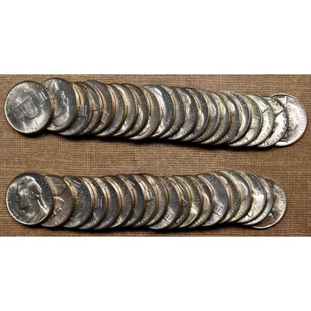 1943-P Original BU Jefferson Nickel roll