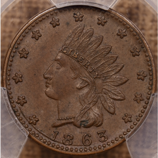 1863 F-79/351a Copper Indian - Crossed Cannons Patriotic Civil War Token, PCGS AU58