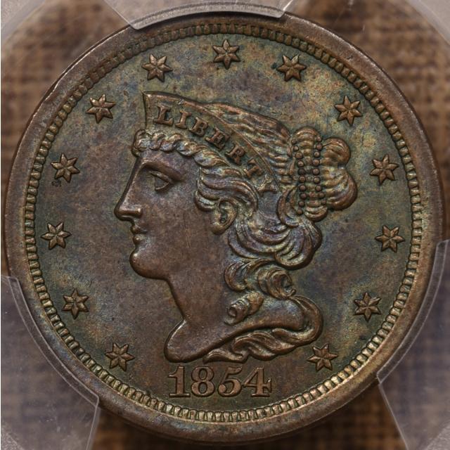 1854 C.1 Braided Hair Half Cent PCGS MS64 BN CAC