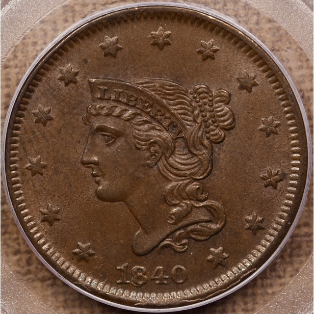 1840 N.2 Small/Large 18 Braided Hair Cent PCGS MS64 BN CAC